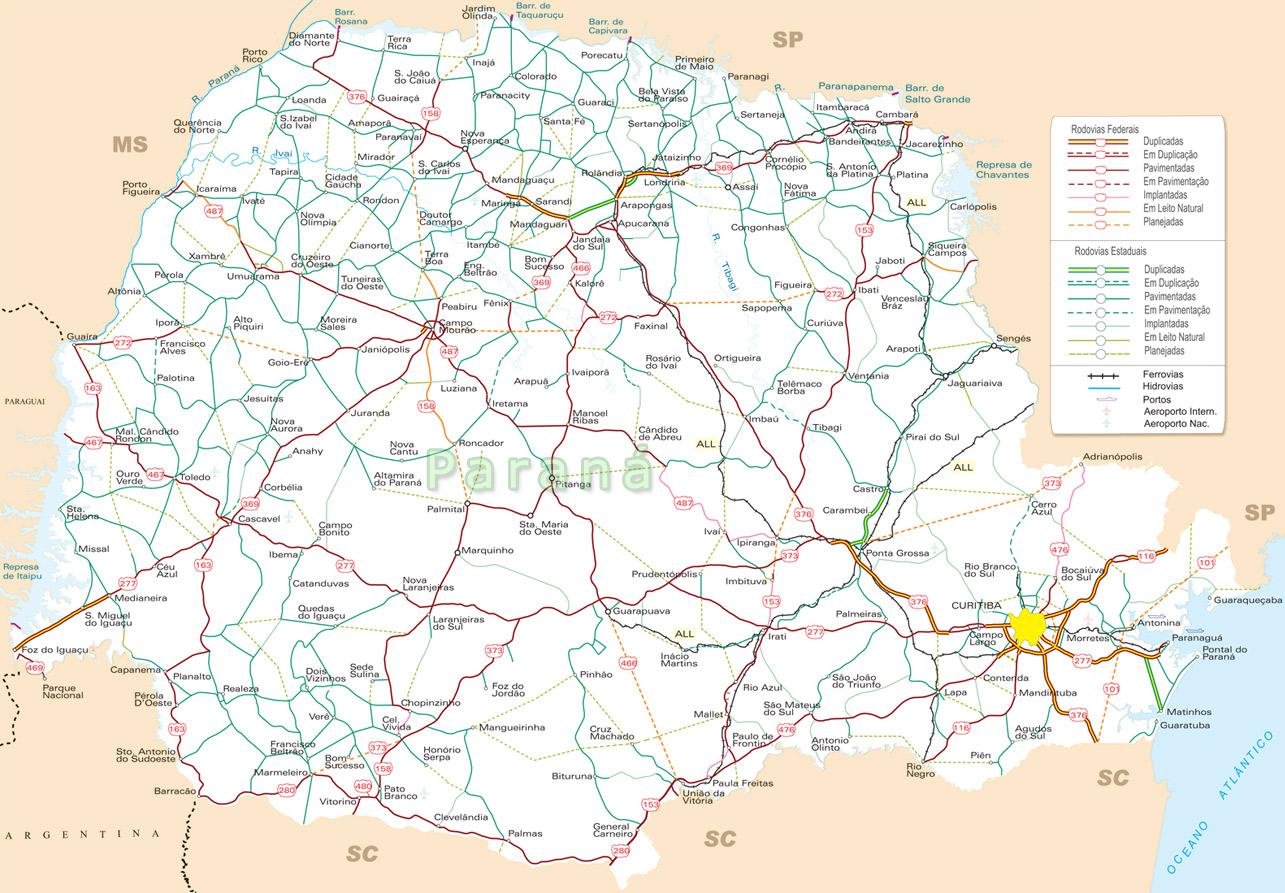 Guia Geografico Mapa Rodoviario Parana Turismo Mapa De Transportes